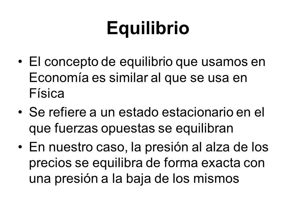 Equilibrio El concepto de equilibrio que usamos en Economía es similar al que se usa en Física Se refiere a un estado estacionario en el que fuerzas o