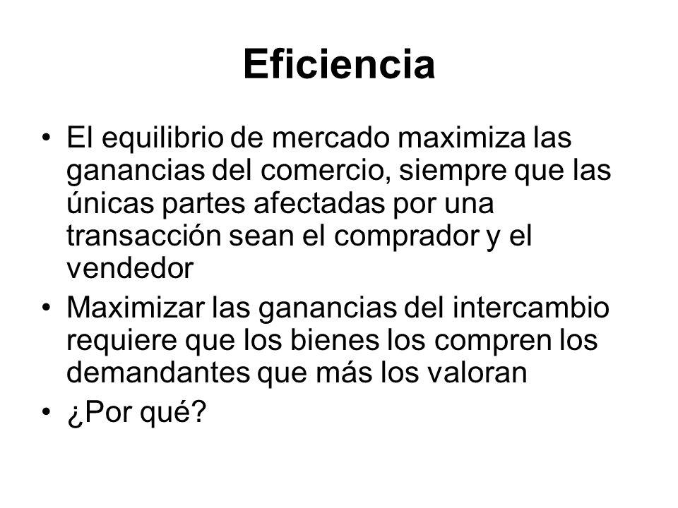 Eficiencia El equilibrio de mercado maximiza las ganancias del comercio, siempre que las únicas partes afectadas por una transacción sean el comprador