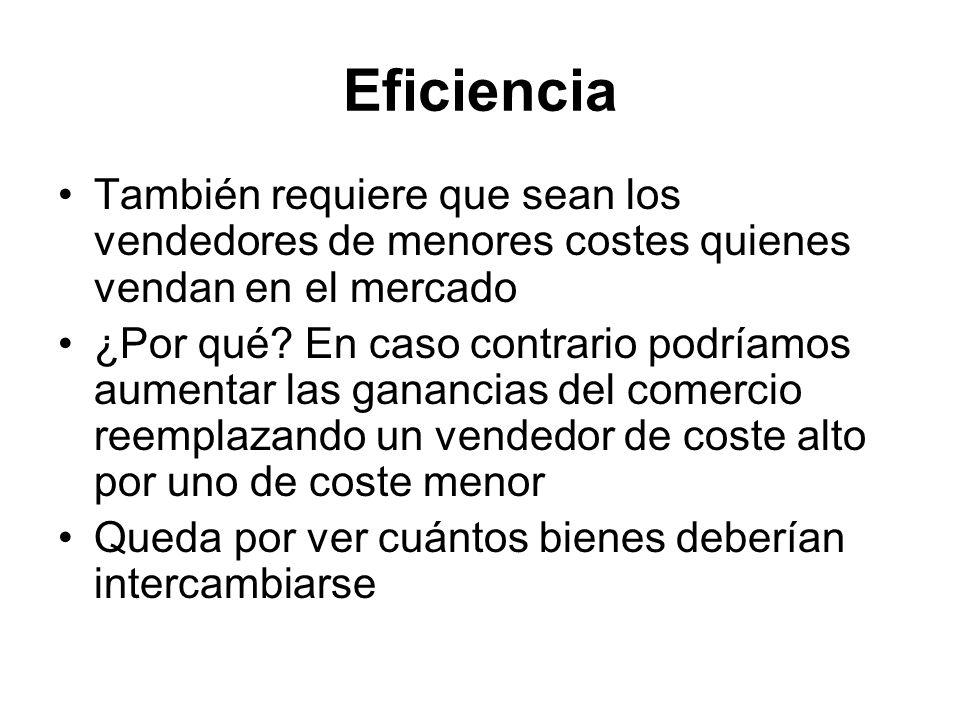 Eficiencia También requiere que sean los vendedores de menores costes quienes vendan en el mercado ¿Por qué? En caso contrario podríamos aumentar las