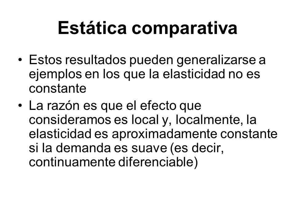 Estática comparativa Estos resultados pueden generalizarse a ejemplos en los que la elasticidad no es constante La razón es que el efecto que consider