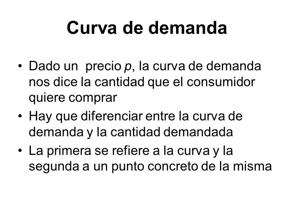 Dado un precio p, la curva de demanda nos dice la cantidad que el consumidor quiere comprar Hay que diferenciar entre la curva de demanda y la cantida