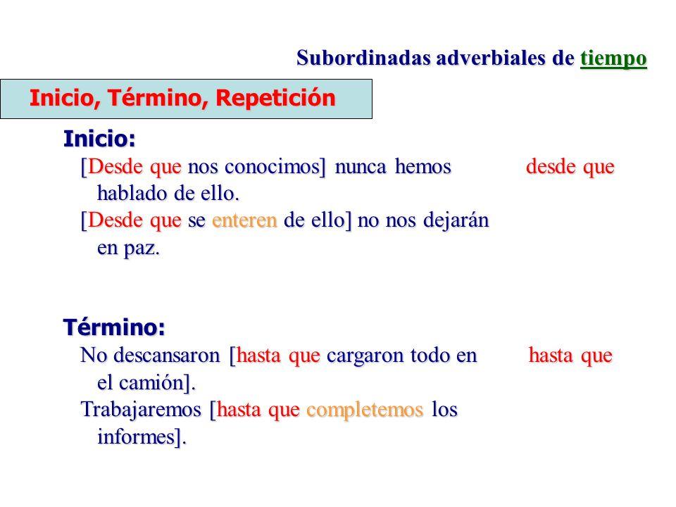 Subordinadas adverbiales de tiempo Inicio, Término, Repetición Inicio: [Desde que nos conocimos] nunca hemos desde que hablado de ello. [Desde que se