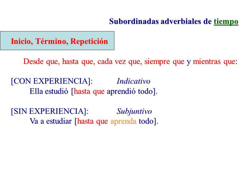 Subordinadas adverbiales de tiempo Inicio, Término, Repetición Desde que, hasta que, cada vez que, siempre que y mientras que: [CON EXPERIENCIA]:Indic
