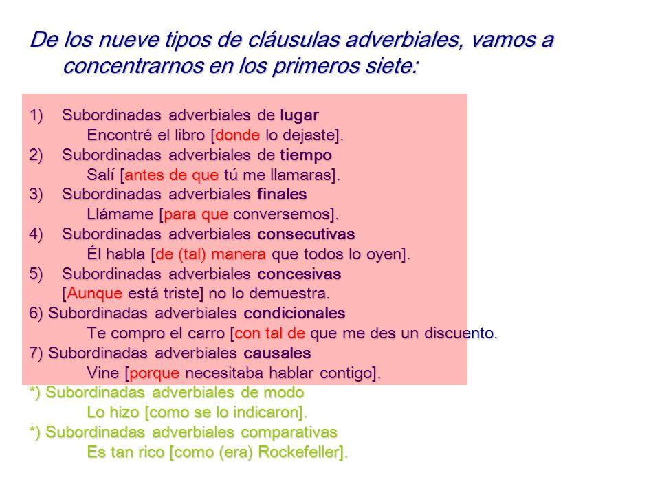 De los nueve tipos de cláusulas adverbiales, vamos a concentrarnos en los primeros siete: 1)Subordinadas 1)Subordinadas adverbiales de lugar Encontré