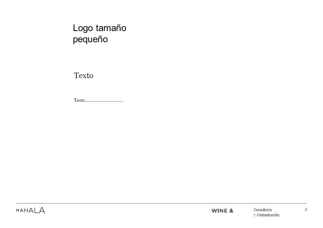 Texto Texto…………………………… 4 Consultoría y Comunicación Logo tamaño pequeño