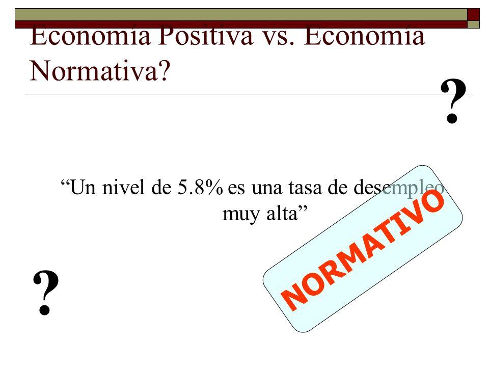 Economía Positiva vs.Economía Normativa. Un nivel de 5.8% es una tasa de desempleo muy alta .
