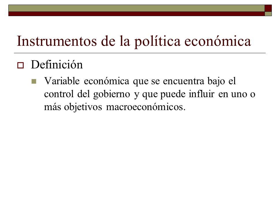 Instrumentos de la política económica Definición Variable económica que se encuentra bajo el control del gobierno y que puede influir en uno o más objetivos macroeconómicos.