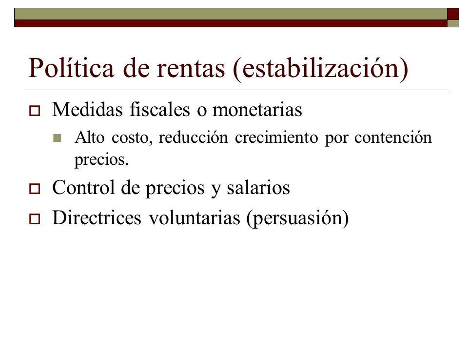 Política de rentas (estabilización) Medidas fiscales o monetarias Alto costo, reducción crecimiento por contención precios.