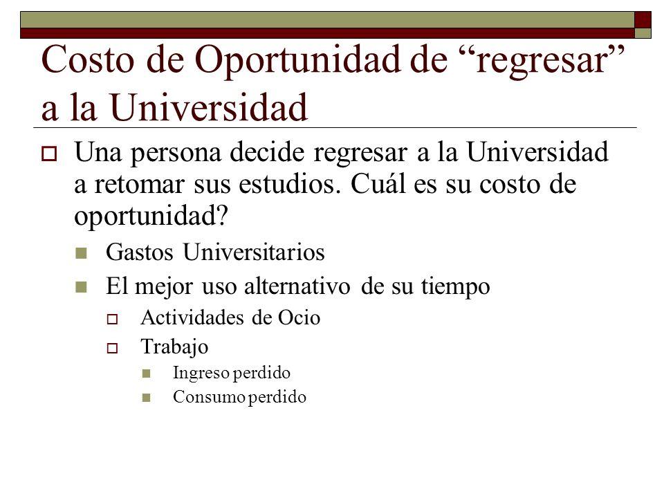 Costo de Oportunidad de regresar a la Universidad Una persona decide regresar a la Universidad a retomar sus estudios.