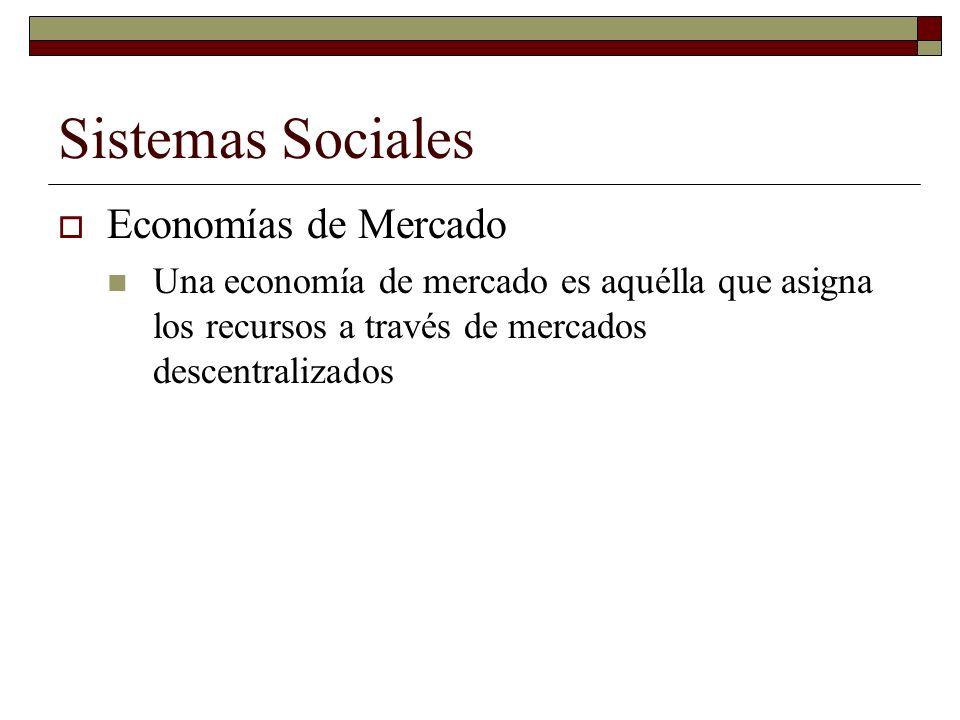 Sistemas Sociales Economías de Mercado Una economía de mercado es aquélla que asigna los recursos a través de mercados descentralizados
