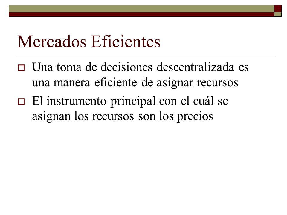 Mercados Eficientes Una toma de decisiones descentralizada es una manera eficiente de asignar recursos El instrumento principal con el cuál se asignan los recursos son los precios