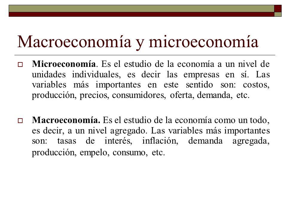 Macroeconomía y microeconomía Microeconomía.