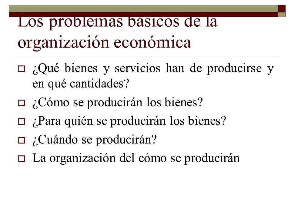Los problemas básicos de la organización económica ¿Qué bienes y servicios han de producirse y en qué cantidades.
