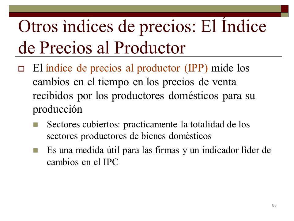 Otros ìndices de precios: El Índice de Precios al Productor El índice de precios al productor (IPP) mide los cambios en el tiempo en los precios de venta recibidos por los productores domésticos para su producción Sectores cubiertos: practicamente la totalidad de los sectores productores de bienes domèsticos Es una medida útil para las firmas y un indicador lìder de cambios en el IPC 80