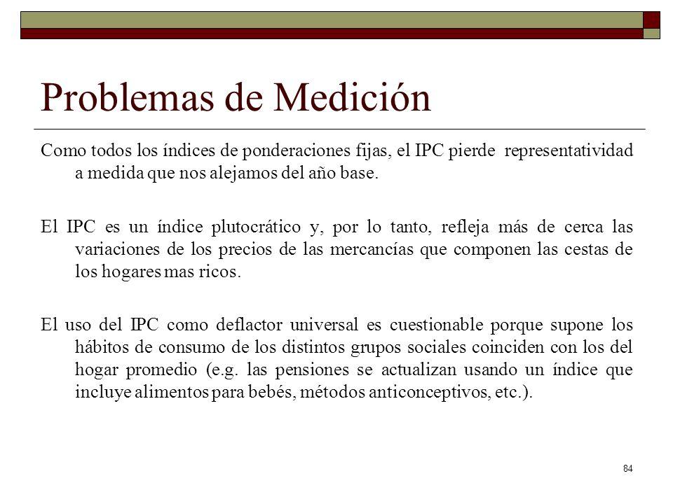 Problemas de Medición Como todos los índices de ponderaciones fijas, el IPC pierde representatividad a medida que nos alejamos del año base.