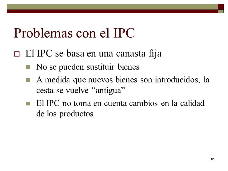 Problemas con el IPC El IPC se basa en una canasta fija No se pueden sustituir bienes A medida que nuevos bienes son introducidos, la cesta se vuelve antigua El IPC no toma en cuenta cambios en la calidad de los productos 85