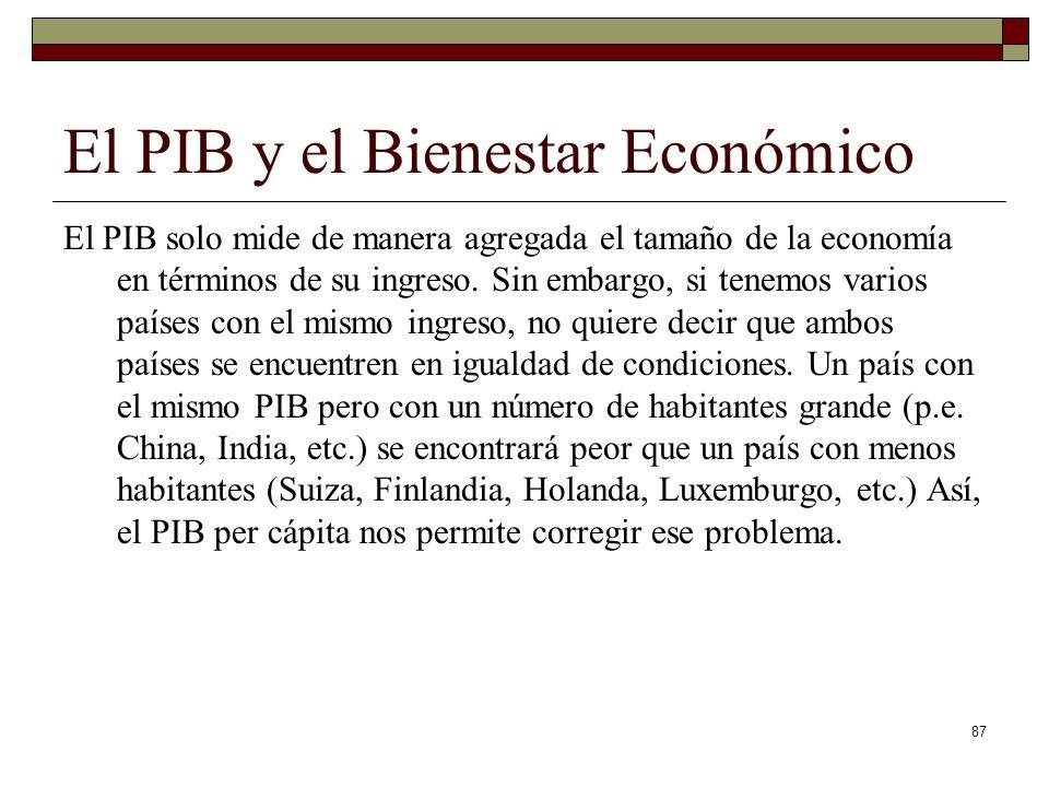 El PIB y el Bienestar Económico El PIB solo mide de manera agregada el tamaño de la economía en términos de su ingreso.