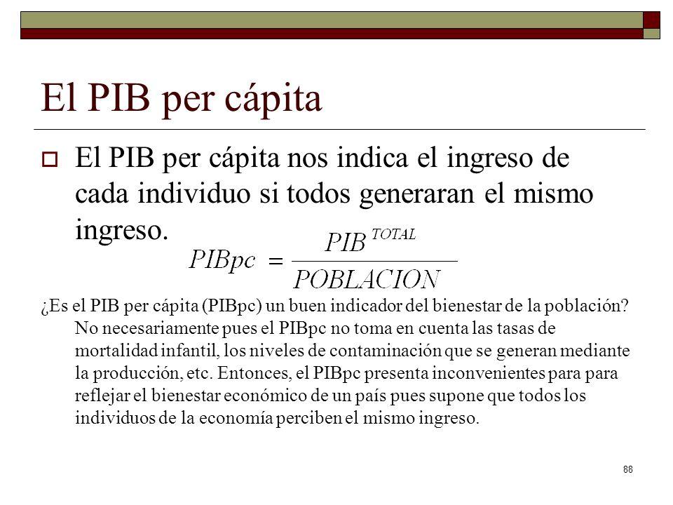 El PIB per cápita El PIB per cápita nos indica el ingreso de cada individuo si todos generaran el mismo ingreso.