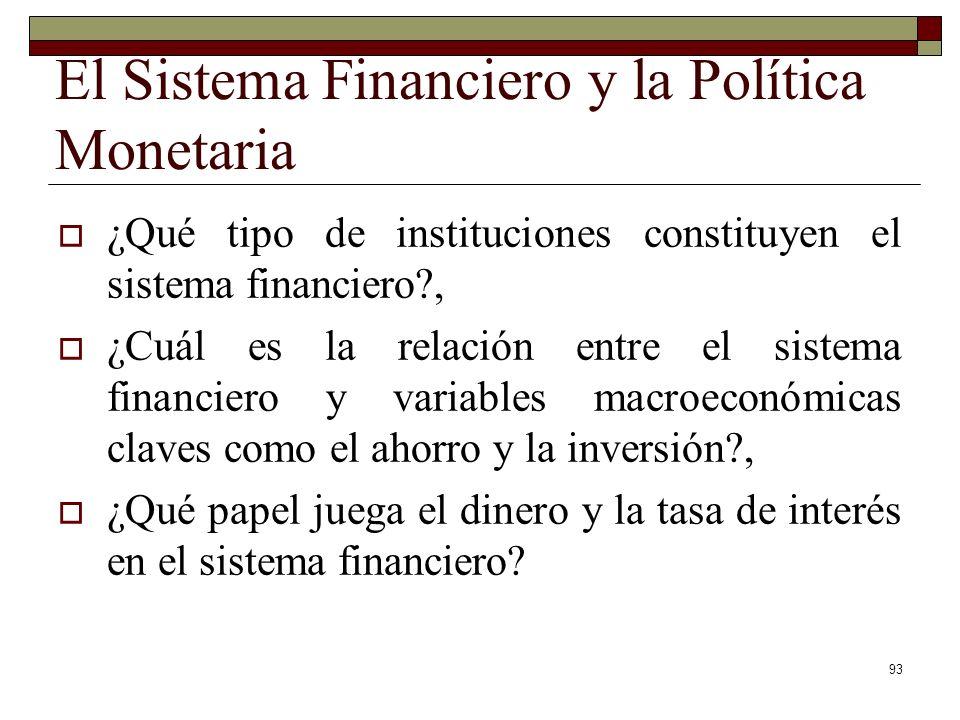 El Sistema Financiero y la Política Monetaria ¿Qué tipo de instituciones constituyen el sistema financiero?, ¿Cuál es la relación entre el sistema financiero y variables macroeconómicas claves como el ahorro y la inversión?, ¿Qué papel juega el dinero y la tasa de interés en el sistema financiero.