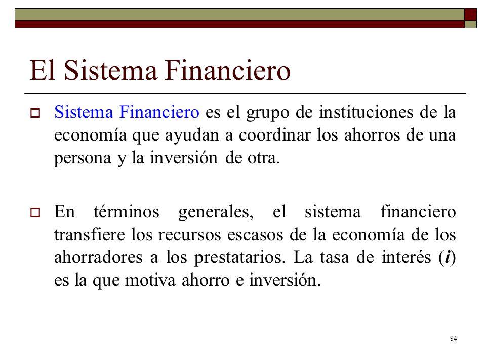 El Sistema Financiero Sistema Financiero es el grupo de instituciones de la economía que ayudan a coordinar los ahorros de una persona y la inversión de otra.