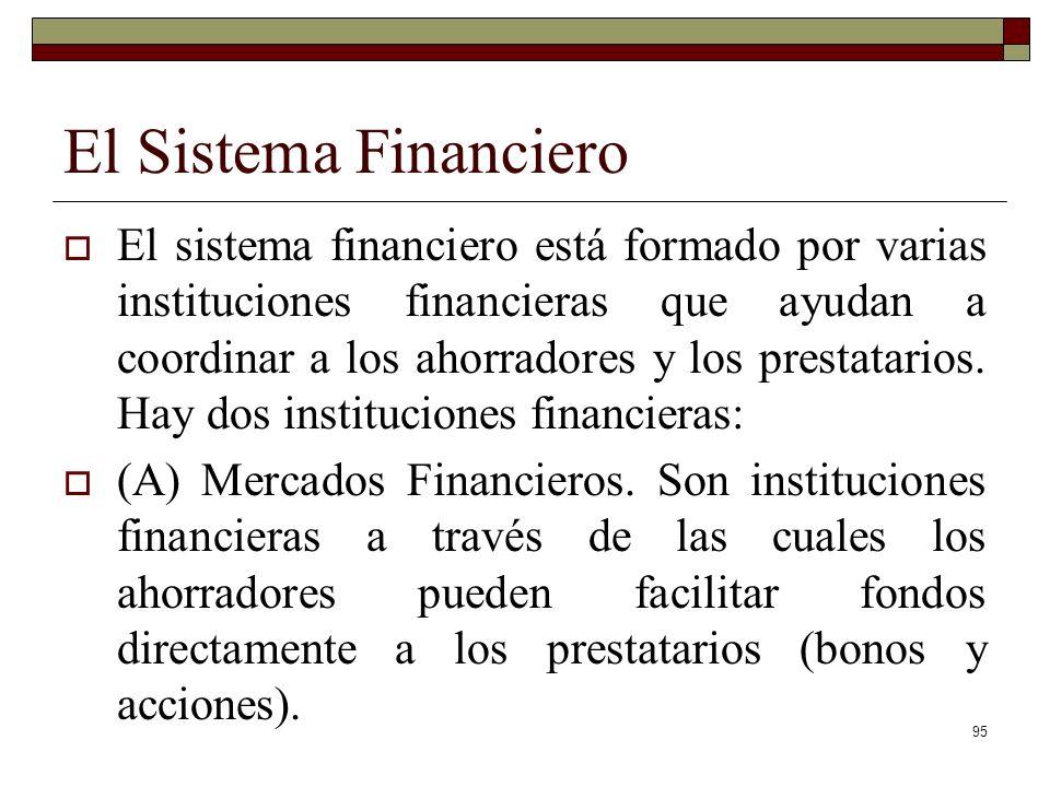 El Sistema Financiero El sistema financiero está formado por varias instituciones financieras que ayudan a coordinar a los ahorradores y los prestatarios.