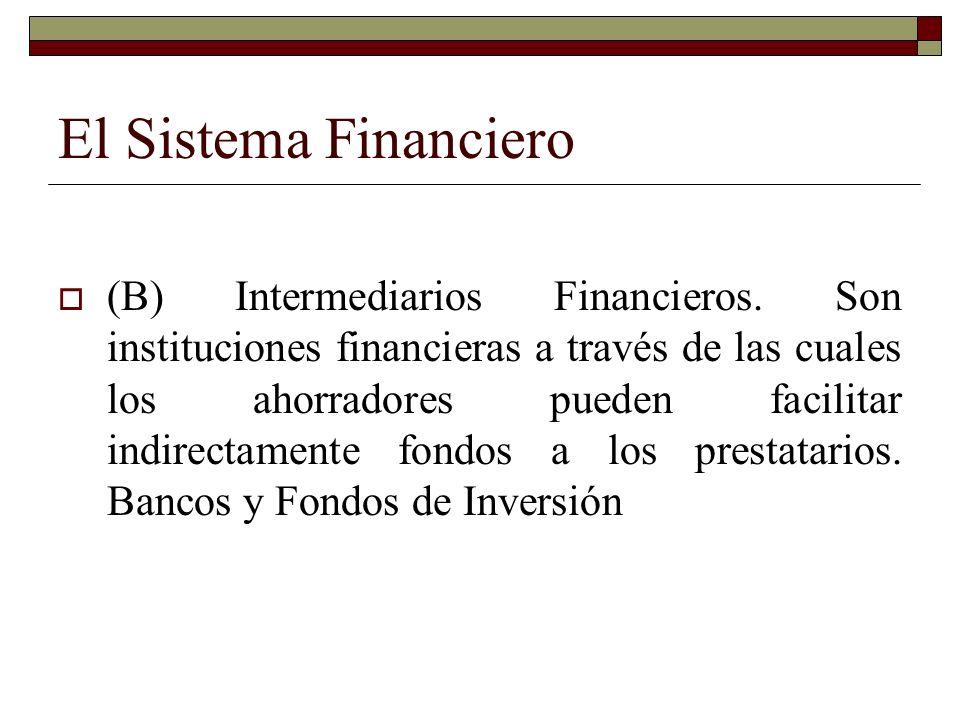 El Sistema Financiero (B) Intermediarios Financieros.