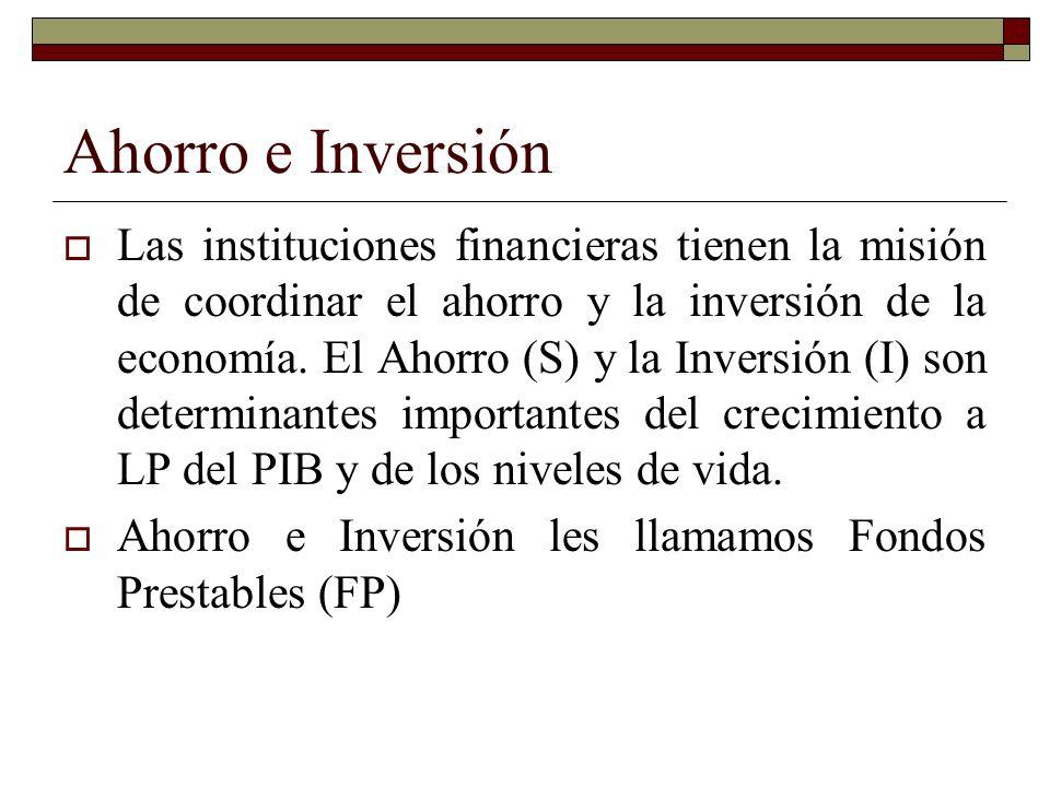 Ahorro e Inversión Las instituciones financieras tienen la misión de coordinar el ahorro y la inversión de la economía.