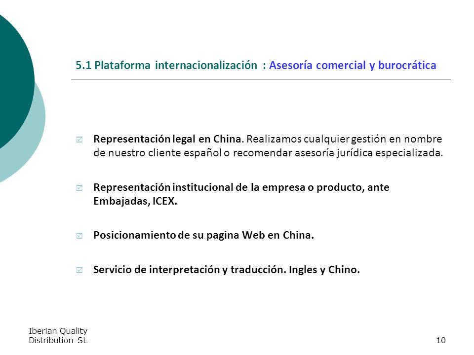 Iberian Quality Distribution SL10 5.1 Plataforma internacionalización : Asesoría comercial y burocrática Representación legal en China.