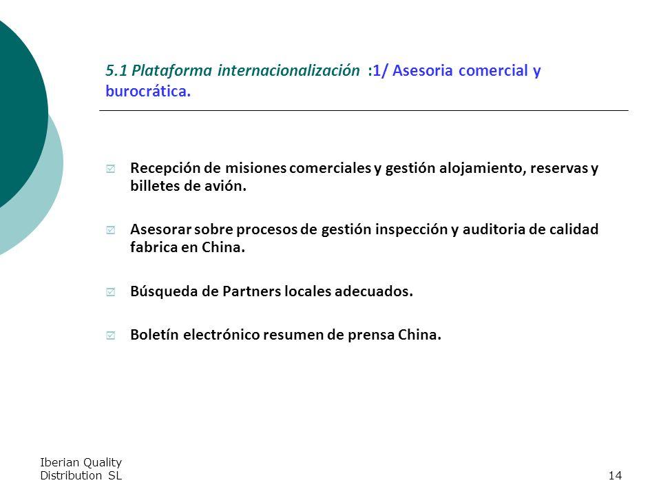Iberian Quality Distribution SL14 5.1 Plataforma internacionalización :1/ Asesoria comercial y burocrática.