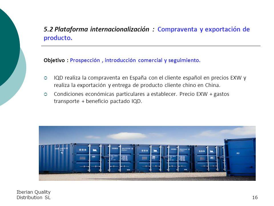 Iberian Quality Distribution SL16 5.2 Plataforma internacionalización : Compraventa y exportación de producto.