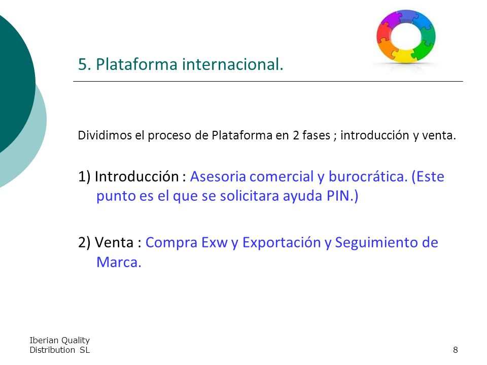 Iberian Quality Distribution SL8 5. Plataforma internacional.