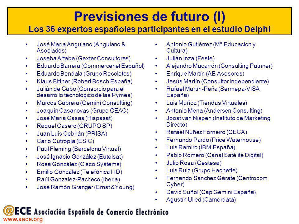 www.aece.org Previsiones de futuro (I) Los 36 expertos españoles participantes en el estudio Delphi José María Anguiano (Anguiano & Asociados) Joseba