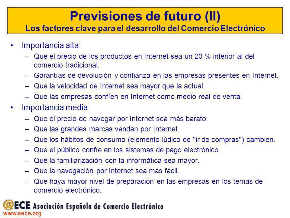 www.aece.org Previsiones de futuro (II) Los factores clave para el desarrollo del Comercio Electrónico Importancia alta: –Que el precio de los product
