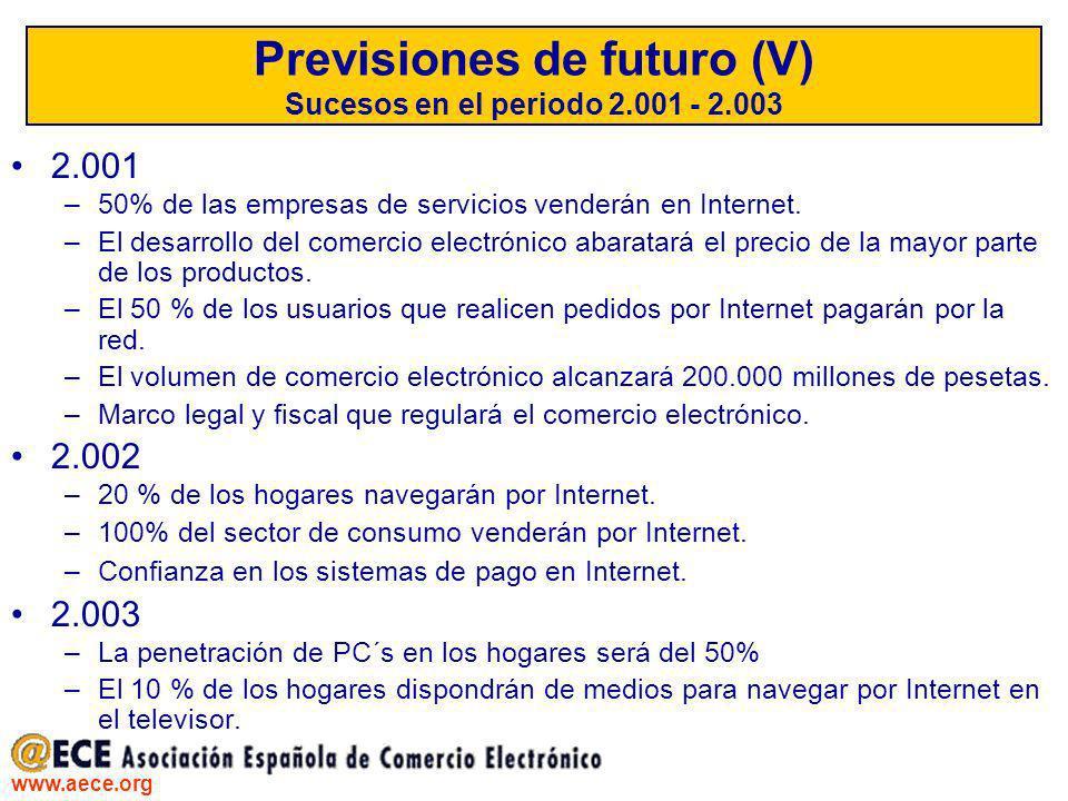 www.aece.org Previsiones de futuro (V) Sucesos en el periodo 2.001 - 2.003 2.001 –50% de las empresas de servicios venderán en Internet. –El desarroll