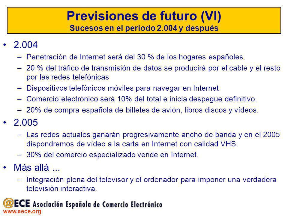 www.aece.org Previsiones de futuro (VI) Sucesos en el periodo 2.004 y después 2.004 –Penetración de Internet será del 30 % de los hogares españoles. –