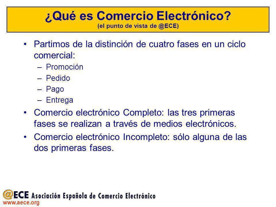 www.aece.org ¿Qué es Comercio Electrónico? (el punto de vista de @ECE) Partimos de la distinción de cuatro fases en un ciclo comercial: –Promoción –Pe