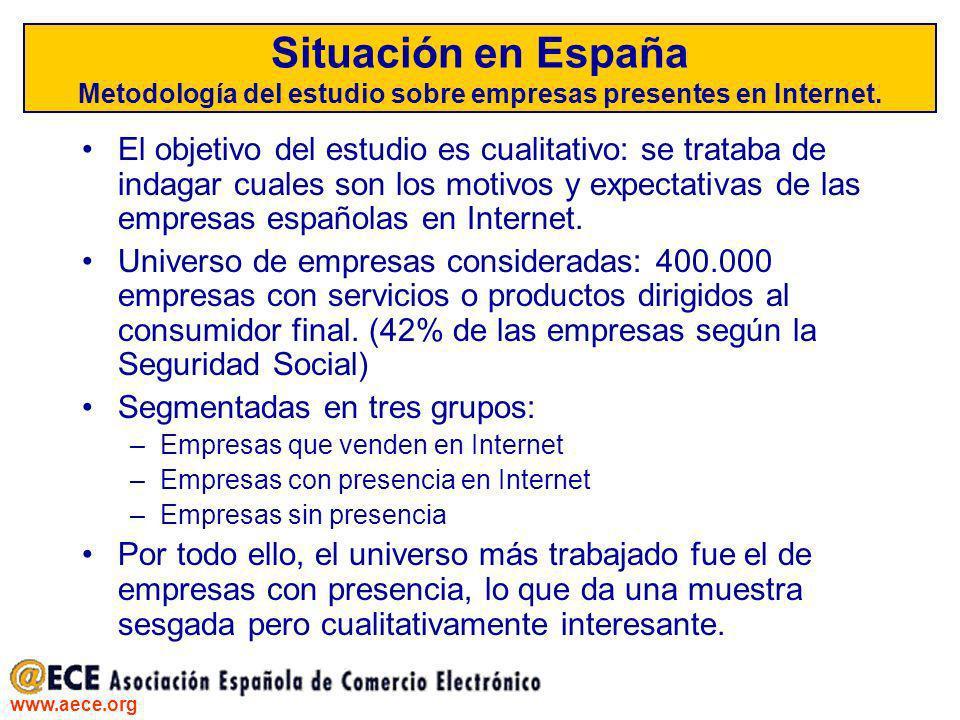 www.aece.org Situación en España Metodología del estudio sobre empresas presentes en Internet. El objetivo del estudio es cualitativo: se trataba de i