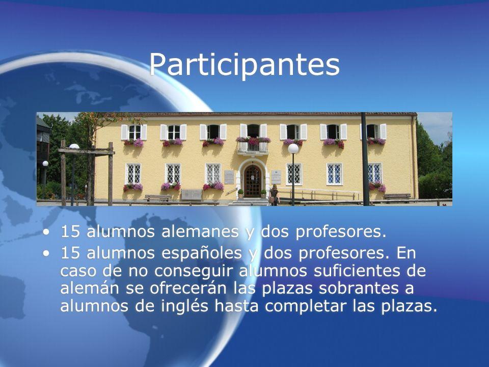 Participantes 15 alumnos alemanes y dos profesores.