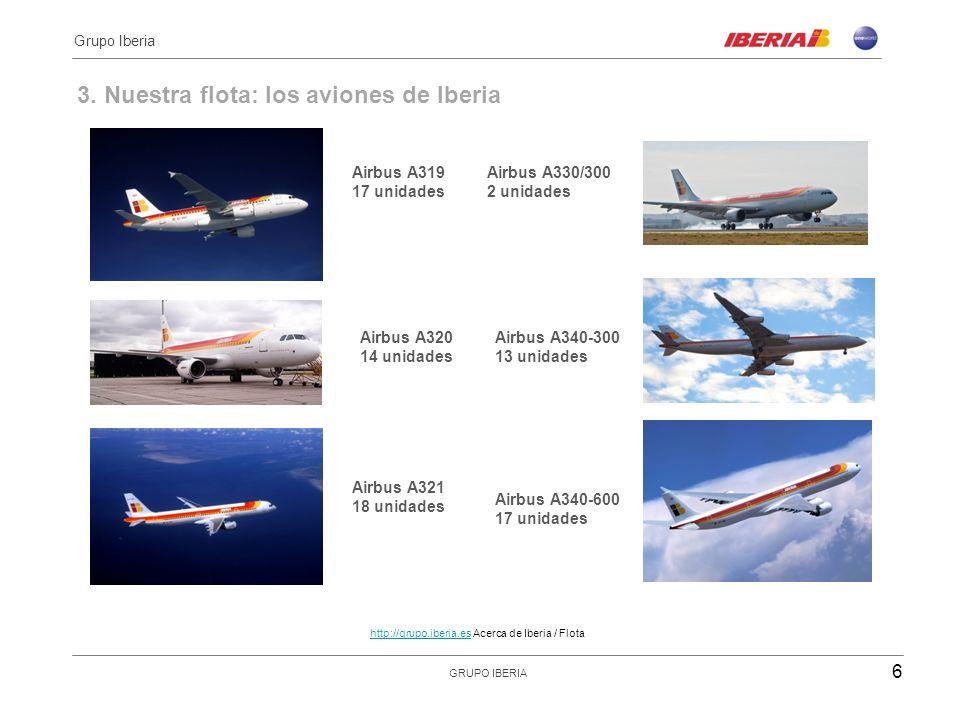 3. Nuestra flota: los aviones de Iberia Destinados a rutas intercontinentales Airbus A319 17 unidades Airbus A320 14 unidades Airbus A321 18 unidades
