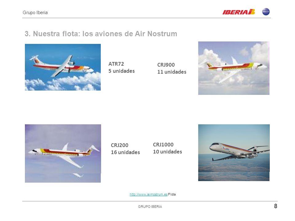 3. Nuestra flota: los aviones de Air Nostrum ATR72 5 unidades CRJ900 11 unidades 8 Grupo Iberia GRUPO IBERIA CRJ200 16 unidades CRJ1000 10 unidades ht