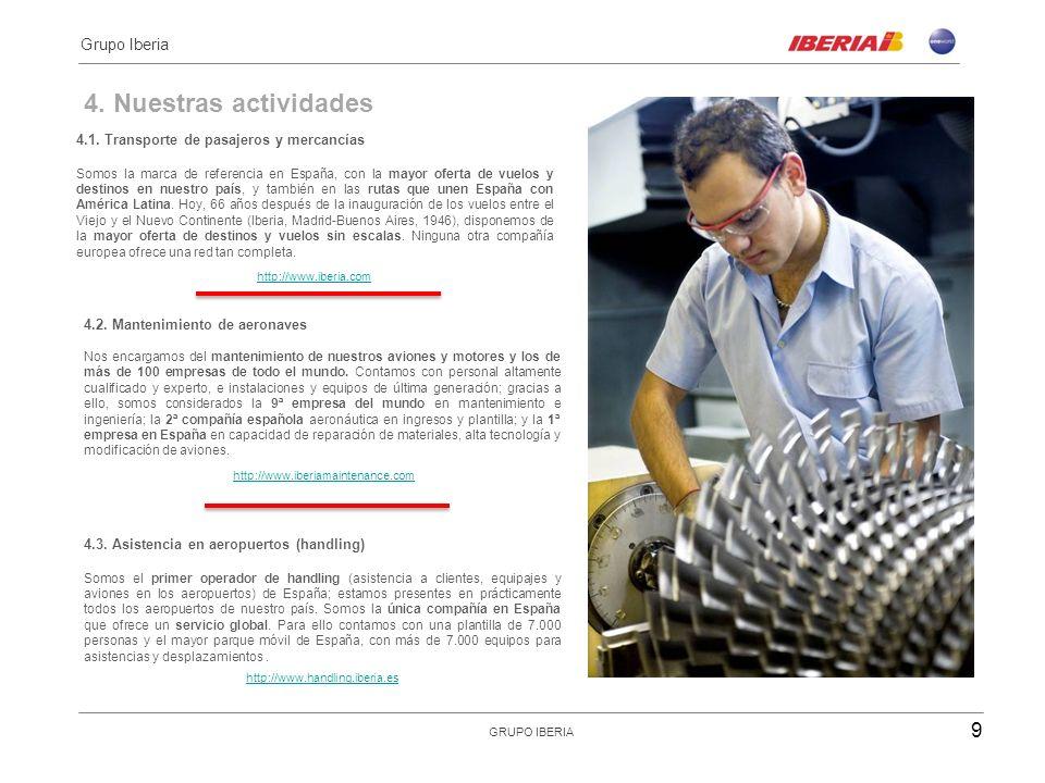 llll 4. Nuestras actividades 4.2. Mantenimiento de aeronaves Nos encargamos del mantenimiento de nuestros aviones y motores y los de más de 100 empres