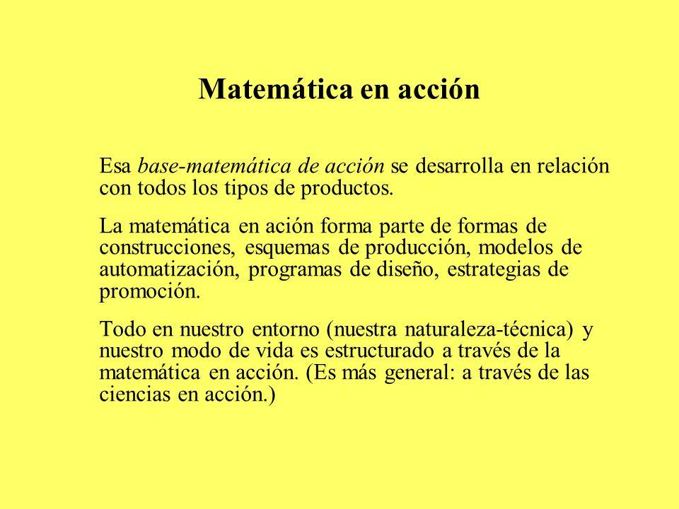 Matemática en acción Esa base-matemática de acción se desarrolla en relación con todos los tipos de productos. La matemática en ación forma parte de f
