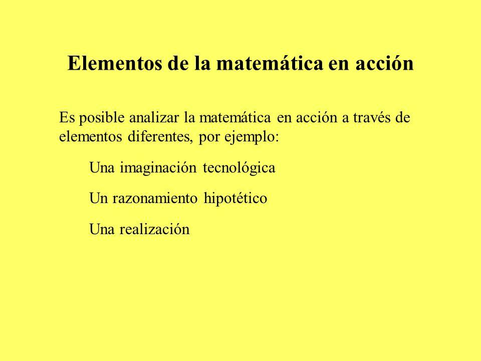 Elementos de la matemática en acción Es posible analizar la matemática en acción a través de elementos diferentes, por ejemplo: Una imaginación tecnol