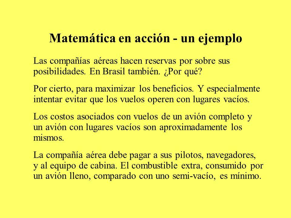Matemática en acción - un ejemplo Las compañías aéreas hacen reservas por sobre sus posibilidades. En Brasil también. ¿Por qué? Por cierto, para maxim