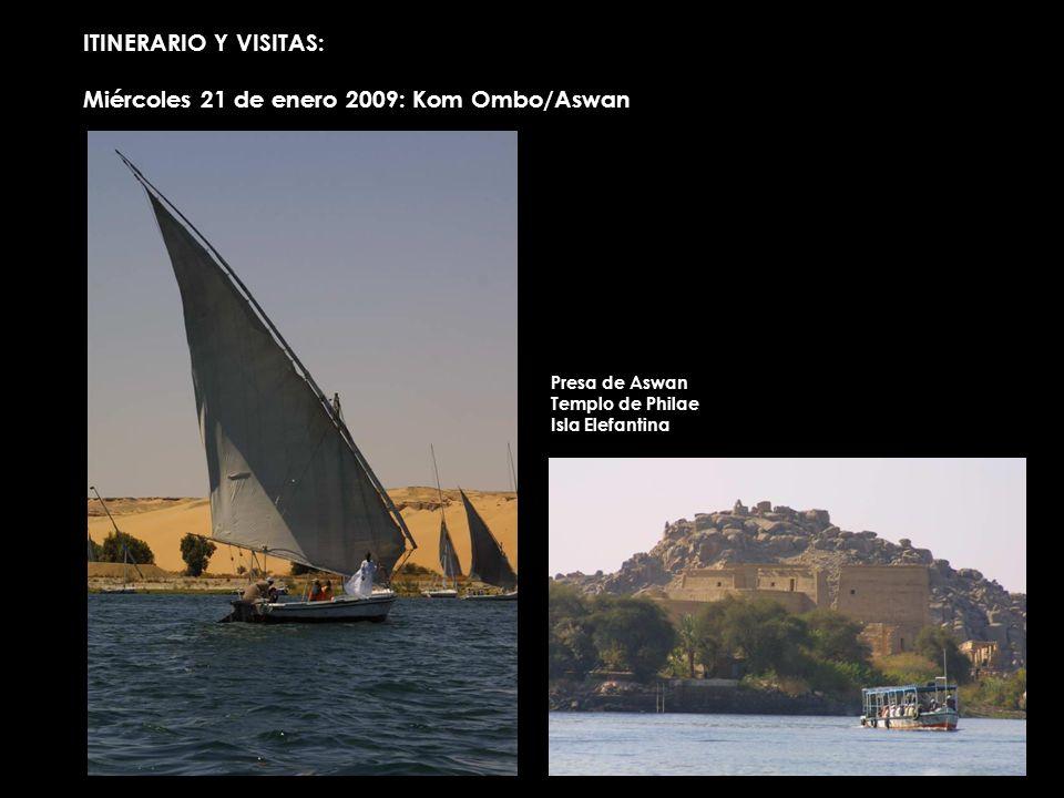 ITINERARIO Y VISITAS: Miércoles 21 de enero 2009: Kom Ombo/Aswan Presa de Aswan Templo de Philae Isla Elefantina