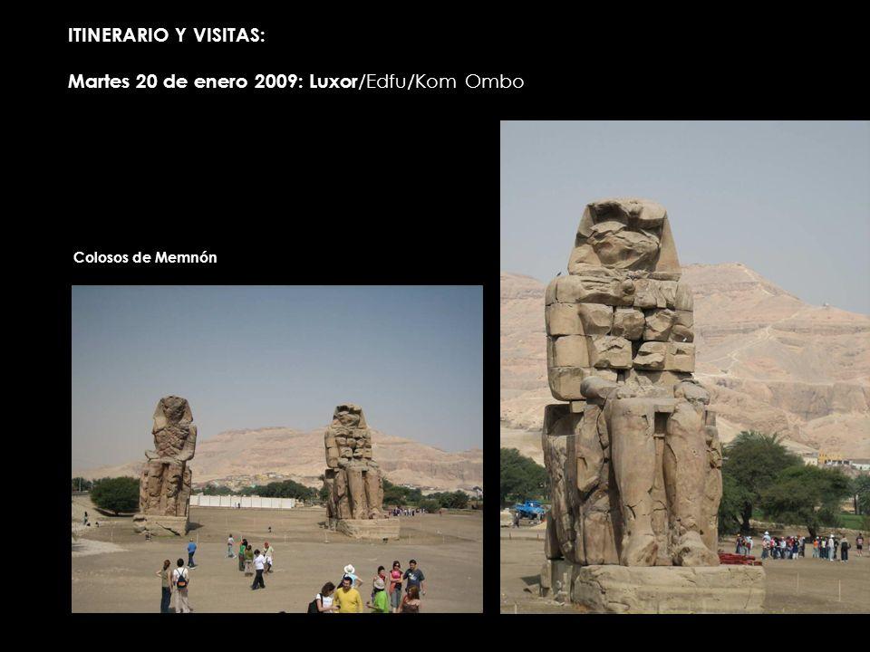 ITINERARIO Y VISITAS: Martes 20 de enero 2009: Luxor /Edfu/Kom Ombo Colosos de Memnón