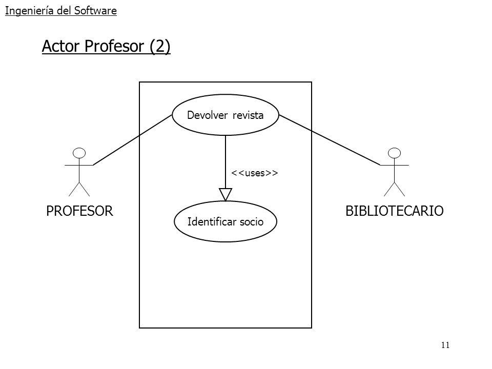 11 Ingeniería del Software Actor Profesor (2) PROFESORBIBLIOTECARIO Devolver revista Identificar socio >