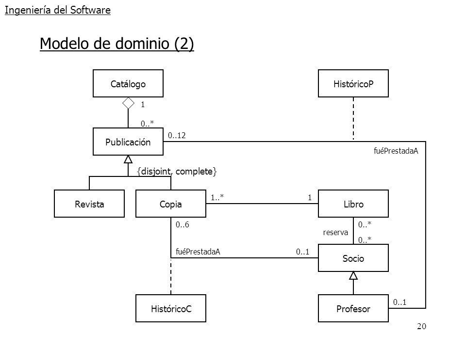 20 Ingeniería del Software Modelo de dominio (2) RevistaCopiaLibro {disjoint, complete} Publicación Catálogo 1 0..* 1..*1 Socio Profesor 0..* reserva
