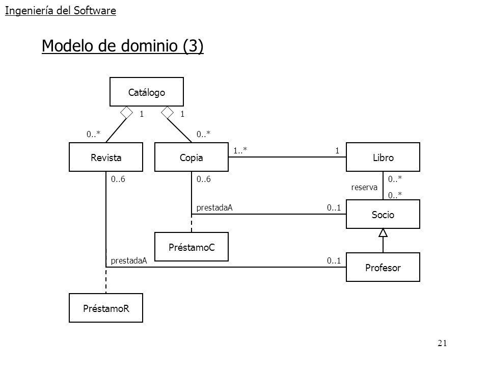 21 Ingeniería del Software Modelo de dominio (3) RevistaCopiaLibro Catálogo 1 0..* 1..*1 Socio Profesor 0..* reserva 0..6 0..1 0..6 0..1 PréstamoR Pré
