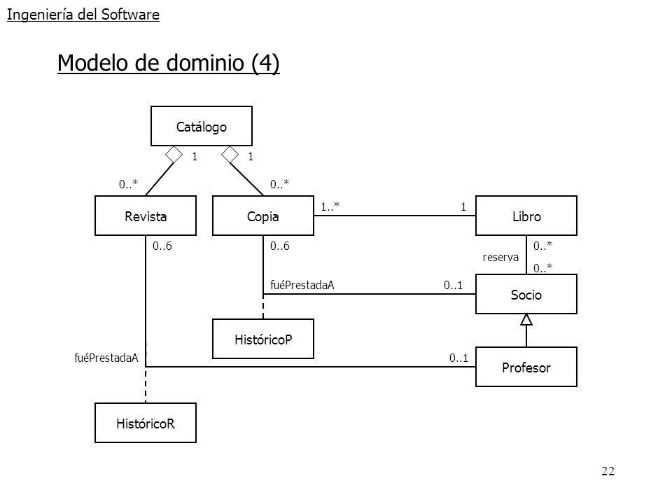 22 Ingeniería del Software Modelo de dominio (4) RevistaCopiaLibro Catálogo 1 0..* 1..*1 Socio Profesor 0..* reserva 0..6 0..1 0..6 0..1 HistóricoR Hi